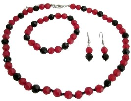 Holiday Gifts Idea Gorgeous Jewelry Red Black Beads - $10.13