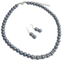 Wedding Favors Jewelry Gray Pearls Silver Rondells Necklace Earrings - $14.03