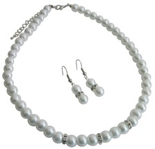 All Occasions Gathering Formal Semi Formal White Pearls Jewelry Set - $12.08