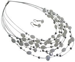 Elegant Beautiful Wedding White Oval Beads Multi Strand Necklace Set - $13.38