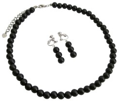 Looking For Clip On Earrings Black Pearls Necklace Set - $10.13