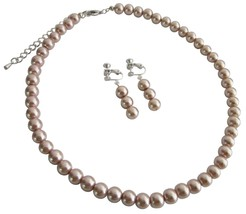 Girls Non Pierced Clip on Earrings Necklace Jewelry Set - $10.13