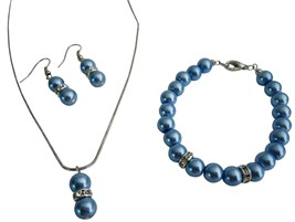 Inexpensive High Quality Blue Pearls Complete Jewelry - $14.68