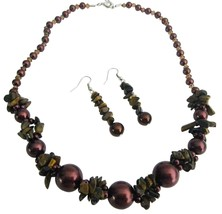 GORGEOUS Burnt Brown Pearls Nugget Set Bridemaid Jewelry - $14.68