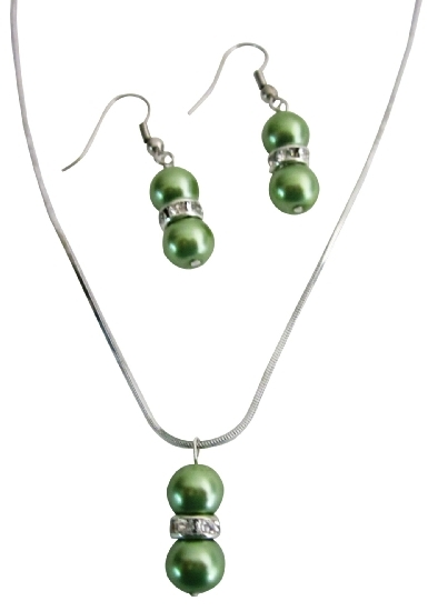 Bridal Jewelry Wedding Attendant Gifts Gorgeous Green Pearls Jewelry