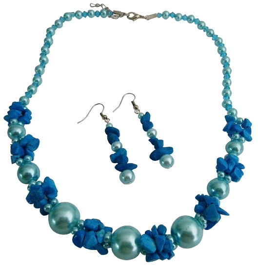 Magnificent Blue Pearls w/ Turquoise Unique Class Wear Jewelry