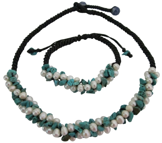 Fine Turquoise Nugget & Freshwater Pearls Birthday Gifts