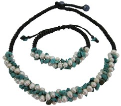 Fine Turquoise Nugget & Freshwater Pearls Birthday Gifts - $23.78