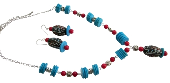 Turquoise Rings Coral Handmade Gift Creative Jewelry Set - $26.38