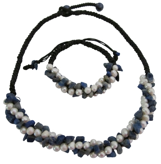 Bridal Destination Honeymoon Jewelry Lapis Nuggets Freshwater Pearls