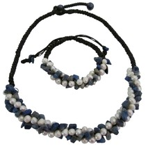 Bridal Destination Honeymoon Jewelry Lapis Nuggets Freshwater Pearls - $23.78