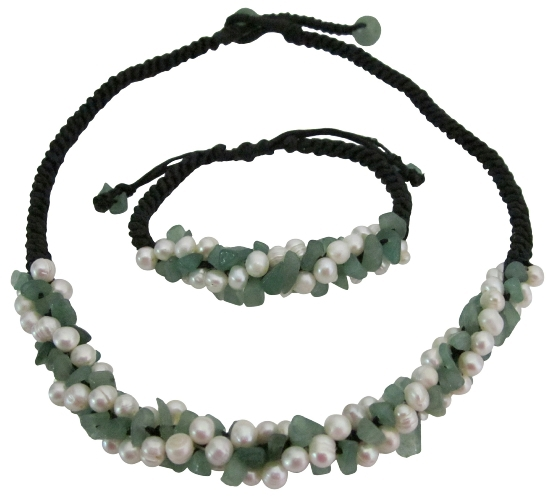 Primary image for Beach Wedding Jewelry Jade Stone w/ Freshwater Pearls