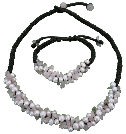 Designer Inexpensive Rose Quartz Nuggets Freshwater Pearls Jewelry