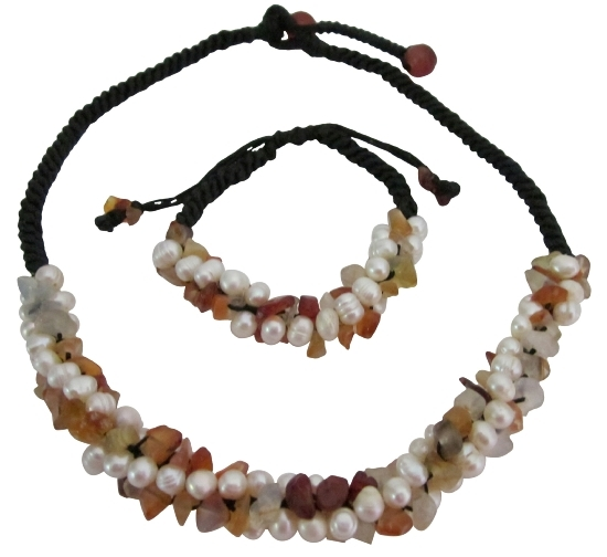 Primary image for Fall Color Carnelian Nuggets Freshwater Pearls Unique Design Jewelry