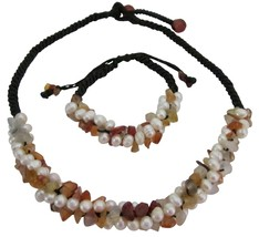 Fall Color Carnelian Nuggets Freshwater Pearls Unique Design Jewelry - $23.78