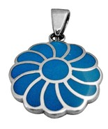 Sterling Silver Turquoise Flower Pendant Gorgeous Gift - $33.53