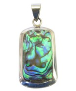 Holiday Gift Sterling Silver Abalone Square Pendant - $16.63