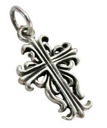 Sterling Silver Cross Pendant Antique Finish - $11.43