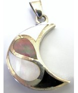 Moon Sterling Silver Pendant Mother Of Pearls Pendant - $17.28