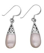 White Opal Inlay Teardrop Earrings Girl Friend Gift Beautiful Teardrop - $12.08