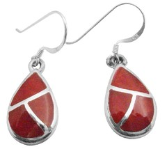 Coral Earrings w/ Silver Stripe Modern & Artsy Coral Inlay Earrings - $15.33
