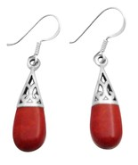 Coral Shell Teardrop Sterling Silver Filigree Earrings Inlay Teardrop - $12.08