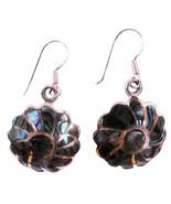 Rainbow Abalone Flower Earrings w/ Abalone shell Inlay Silver Stripe - $18.58