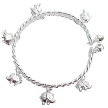 Elephant Charms Dangling Silver Cuff Bracelet Great Holiday Gift - $8.18