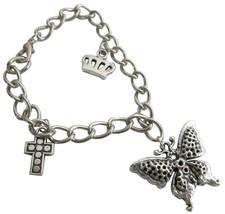 Charms Bracelet Dangling Crown Cross & Butterfly Stunning Bracelet - $8.18