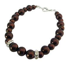 Wedding Prom Birthday Party Gift Brown Pearls Inexpensive Bracelet - $8.83