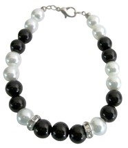 Super Dollar 5 Jewelry 8mm Black & White Pearls & Rondelles Bracelet - $8.83