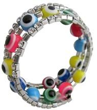 Multicolor Beads Evil Eye Bracelet Three Stranded Rhinestones Bracelet - $8.83