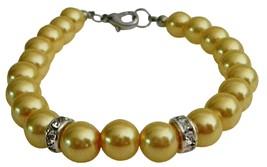 Young Girls Birthday Bridesmaid Wedding Cool Yellow Pearls Bracelet - $8.83