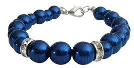 Any Occasion Fashion Young Girls Gift Dark Blue Pearls Bracelet - $8.83