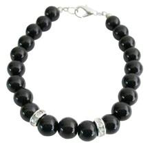 Stunning 8mm Black Pearls Jewelry Flower Girl Bracelet & Rondelles - $8.83