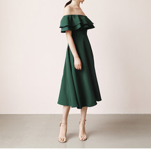 A Line Off Shoulder Tea Dress Wedding Bridesmaid Dress, Green Blush Burgundy image 2