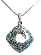 Blue Rhinestones Jewelry Diamond Shaped Pendant Necklace Holiday Gift - £6.80 GBP