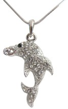 Dolphin Pendant Necklace Sparkling Body with Black Adorable Jewelry - $9.48