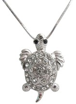 Dazzling Sparkling Cute Turtle Pendant Necklace Mother's Gift - $9.48