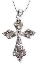 Shimmering Cross Pendant Silver Casting Pendant w/ Silver Chain - $9.48