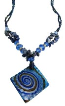 Murano Square Pendant Blue Lapis Stone Chips Nugget Sapphire Crystals - $9.48