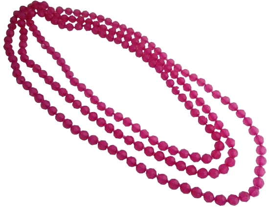 Shopping Beach Necklace Pink Multifaceted Round Glass Bead Necklace