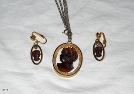Molded Glass Cameo Necklace and Earrings  - $12.00