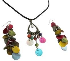 Multicolor Shell Dangling Pendant & Earrings Set Budget Jewelry - $8.83