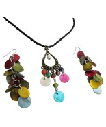 Multicolor Shell Dangling Pendant & Earrings Set Budget Jewelry - $8.83