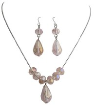 Girl Modern Handmade Beaded Jewelry Peach Crystals Necklace Set - $8.85