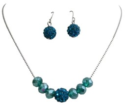 Party Wear Jewelry Indicolite Pave Ball Crystals Set - $8.59