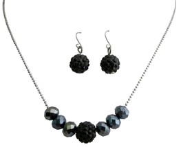 Contemporary Style Jet Pave Ball & Black Diamond Crystals Jewelry Set - $8.59