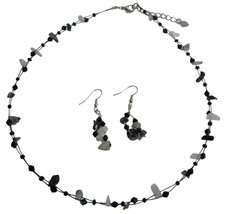 Jet & Opal Nuggets Stone Necklace Earrings Set - $9.17