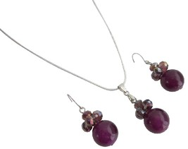 Bridesmaid Cool Jewelry In Purple Color Necklace Earrings - $8.83